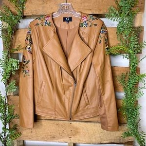 G by Giuliana | Faux Leather Embroidered Jacket